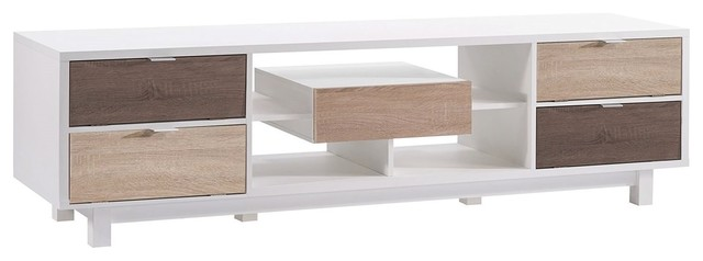 Modern 70 Inch White Tv Stand Entertainment Center With Natural Wood Accents
