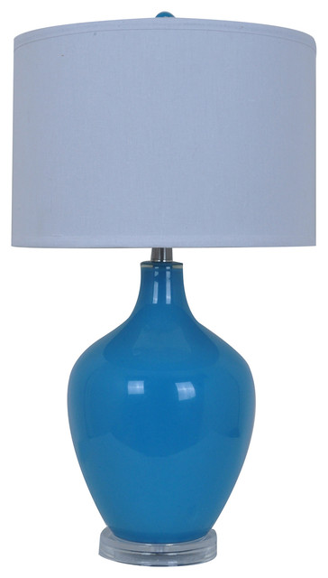 Avery Blue Glass Table Lamp Acrylic Base 27 Tall 15 Diameter Shade