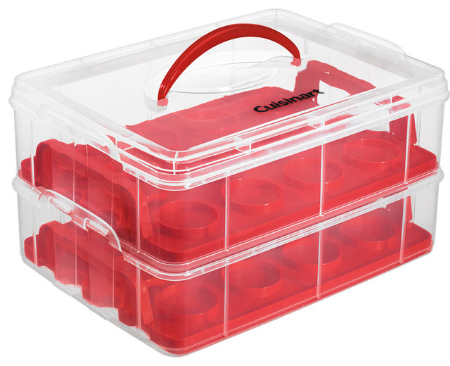 Stackable Cupcake Carrier, Clear/red.