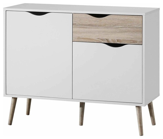 Modern Sideboard, White Finished Wood With Tapered Legs, 2-Door and Drawer