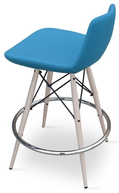 Contemporary Upholstered Counter Stool Turquoise Camira