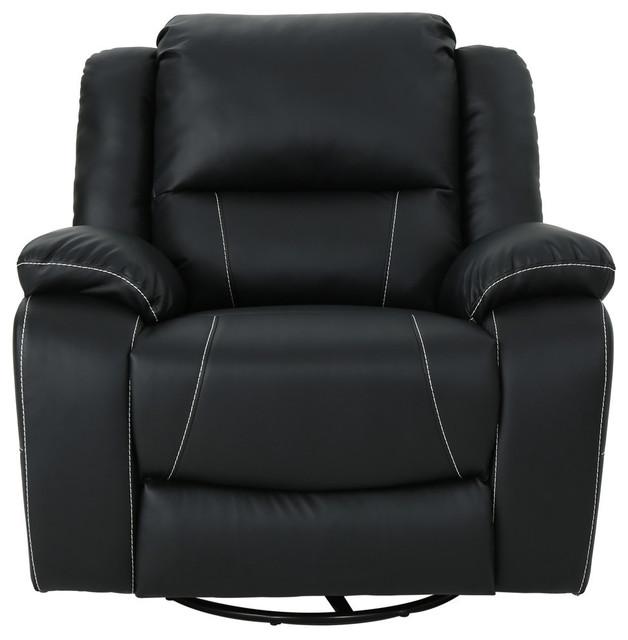 Gdf Studio Teresa Clic Tufted Leather Swivel Recliner Black