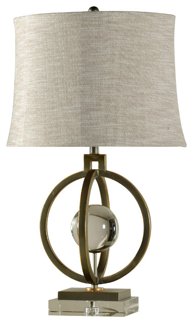 Paris Table Lamp, Tin And Gold Finish With Crystal Ball Base.