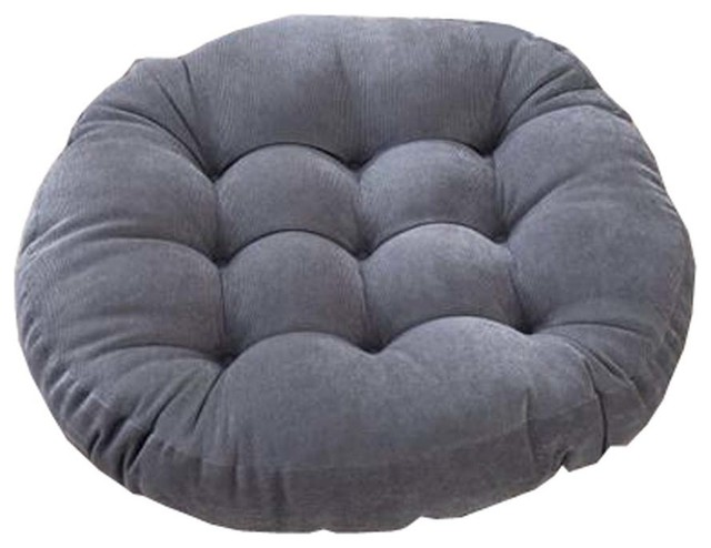 "21"" Round Floor Pillow Tufted Support Padded Boosted Cushion, Gray."
