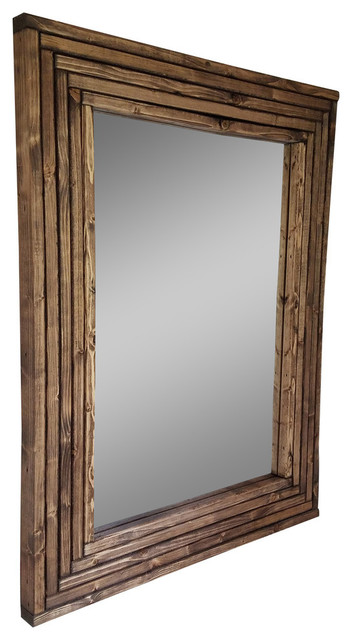 """Mid-Century Vanity Mirror Stained, Driftwood, 24""""x30"""", Vertical."""