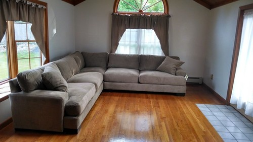 Gray Though Im Not Sure If It Would Look Great With The Couch Color And Stained Pine Floors Ceiling Curtains Are Being Tossed Any Ideas