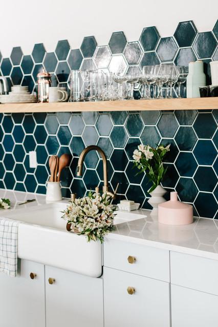 Navy Blue Hexagon Kitchen Backsplash San Francisco By