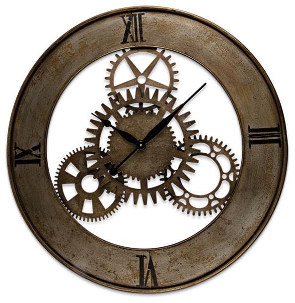 Open Back Metal Gear Clock Eclectic Clocks Atlanta