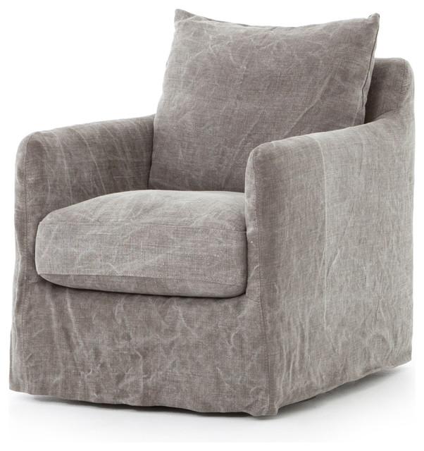 34 Tall Sabrina Swivel Chair Stonewash Jute Slip Cover Metal Frame by World Bazaar Exotics