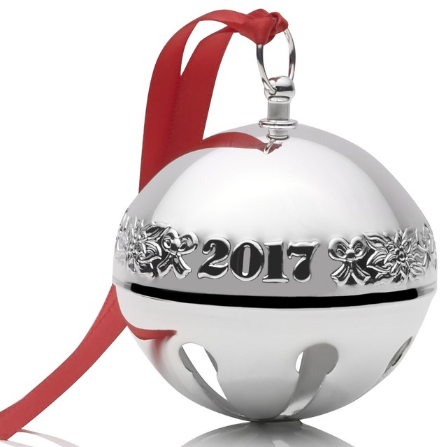 Wallace 2017 Silver-Plate Sleigh Bell, 47th Edition, Ribbons and Flowers -  Contemporary - Christmas Ornaments - by China Royale - Wallace 2017 Silver-Plate Sleigh Bell, 47th Edition, Ribbons And