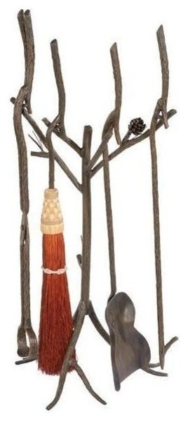 Fire Tool Set With Rust Broom Rustic Fireplace Tools By Shopladder