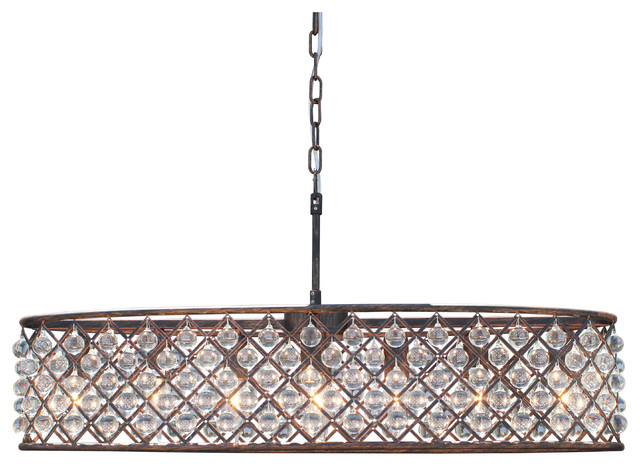 Ciel 30 Inch Oval Crystal Chandelier Oil Rubbed Bronze
