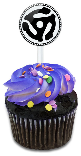 45 Adapter Music Record Cupcake Toppers Picks Set.