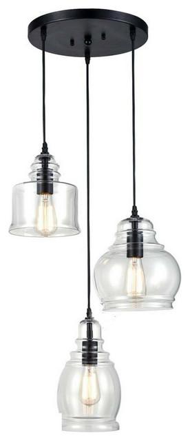 Vintage Kitchen Linear Island Glass Chandelier Pendant Lighting  Fixture-3-Lights