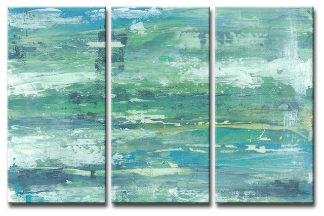 Max E Seafoam Coast 3 Piece Canvas Art Set