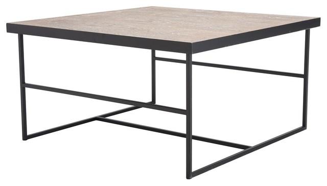 Marvelous Industrial Country Farm Square Sofa Coffee Table Black Steel Metal Creativecarmelina Interior Chair Design Creativecarmelinacom