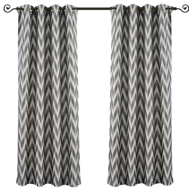 Lisette Chevron Top Grommet Window Curtains, Set Of 2