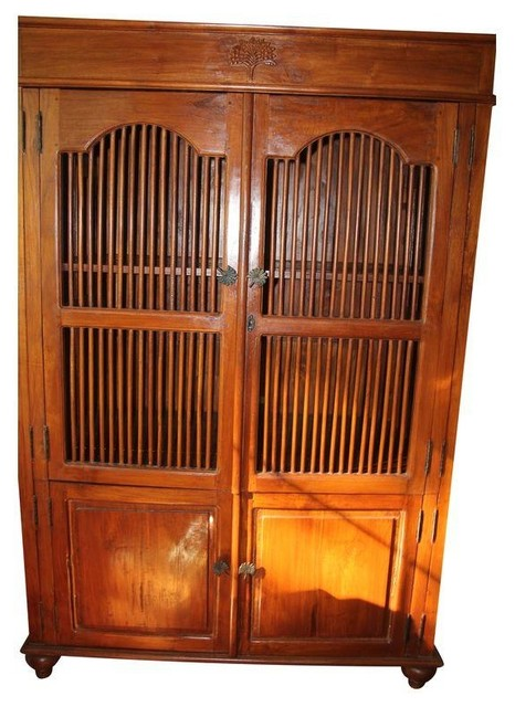 Indonesian Solid Teak Armoire - Modern - Dressers - by Chairish