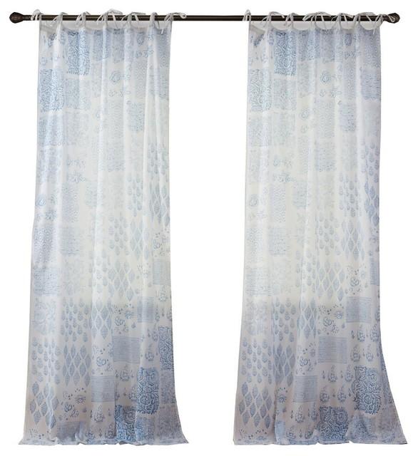 "Tivoli Ikat Microfiber Curtain Set, Teal Aqua, 52""x84"""