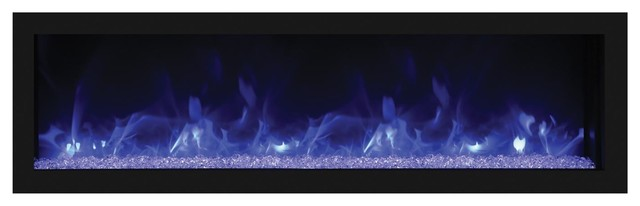 Deep Outdoor Electric Fireplace With Black Steel Surround , Built-In, 55.