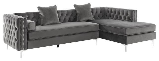 Satori Velvet Sectional Sofa, Gray