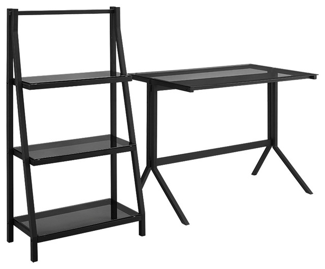 Walker Edison 48 Quot Glass Desk And Shelf Combo Smoke Black