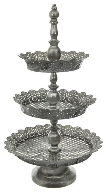 3 Tier Iron Plate Display Stand - Traditional - Dessert And Cake ...