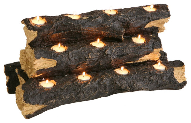 SEI Resin Tealight Fireplace Log, Faux Rustic Wood