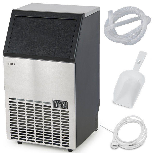 Undercounter Freestanding Commercial Ice Maker, 100 Lbs. Per Day, Silver.