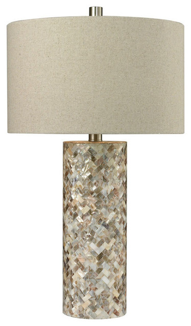Trump Home Herringbone Table Lamp, Natural Mother Of Pearl.