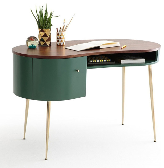 Mid Century Green Curved Office Desk Computer Desk With Shelves Storage Gold Midcentury Desks And Hutches By Goeya Llc Houzz