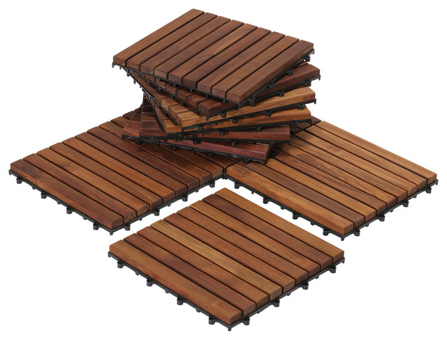Teak Interlocking Floor Tiles Set Of 10
