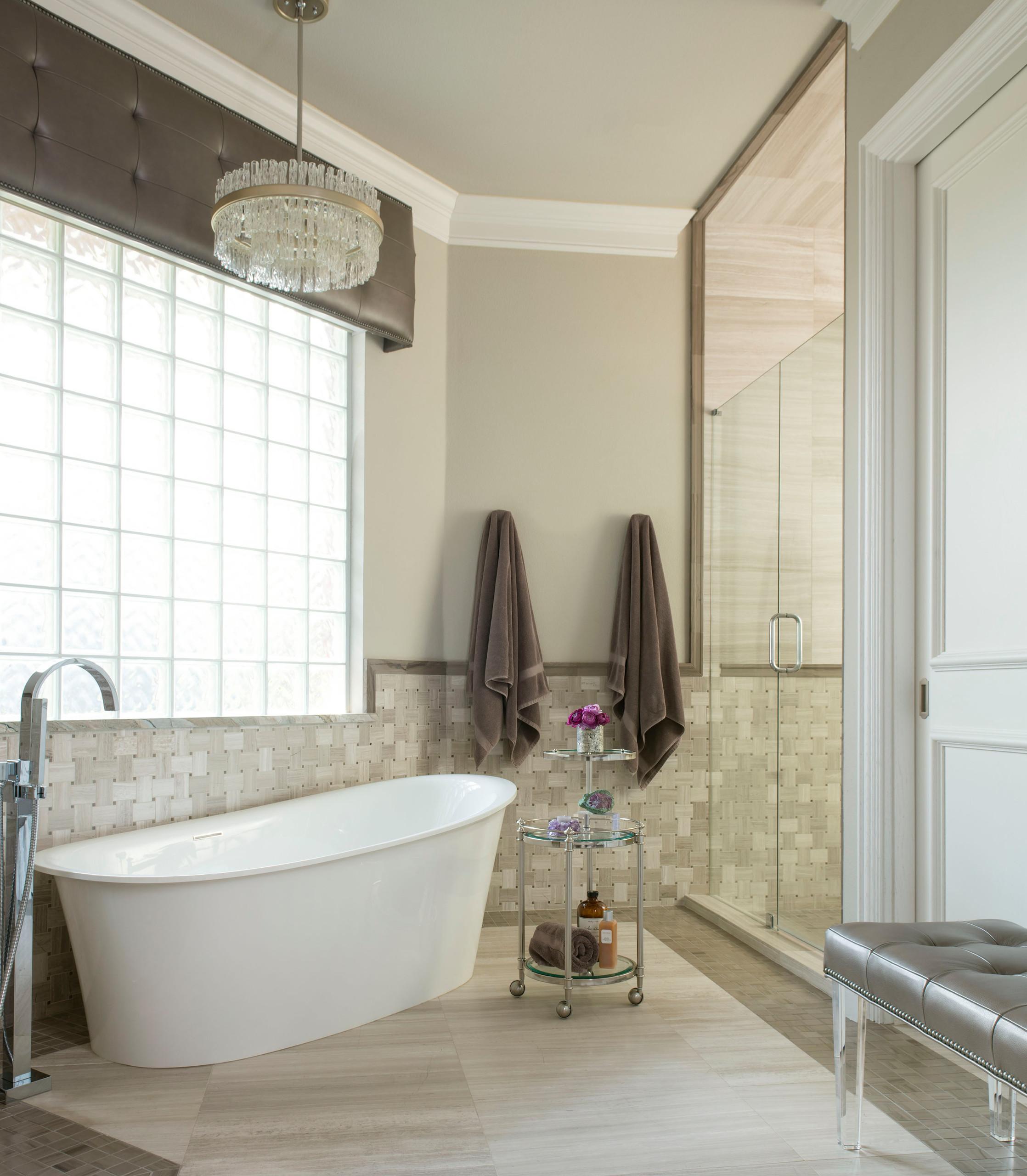 Modern Mediterranean Master Bath Tub and Shower