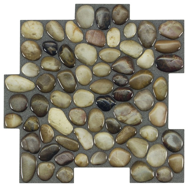 MTO0410 Peel and Stick Pebbles Brown Khaki Beige Glossy Resin Vynil Mosaic Tile