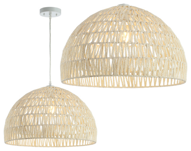 """Campana 20"""" Woven Rattan Dome LED Pendant, Cream"""