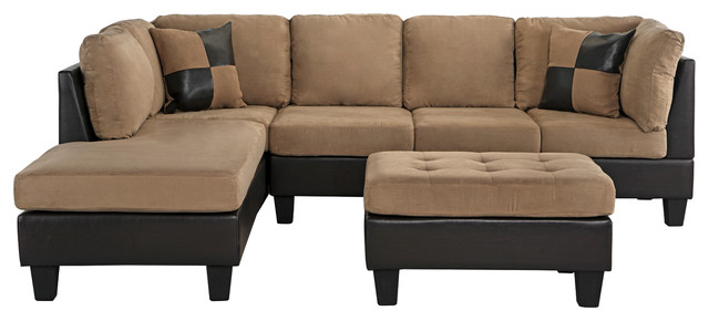3-Piece Modern Microfiber Faux Leather Sectional Sofa With Chaise, Hazelnut