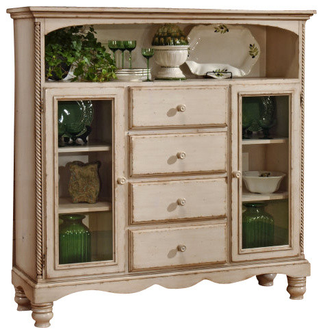 Hillsdale Wilshire Four Drawer Bakers Cabinet In Antique White  Traditional Accent Chests And