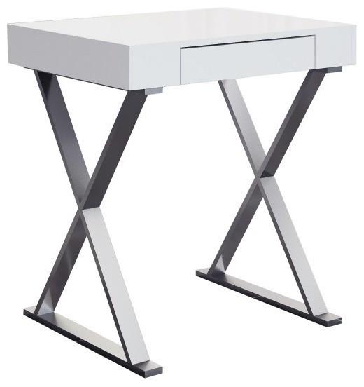 Elm Desk Small High Gloss White One Drawer Stainless Steel Base.