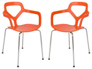 LeisureMod Modern Carney Arm Chairs With Chrome Legs, Orange, Set of 2