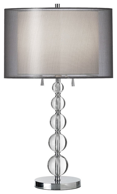 Charmant Dainolite DT590 PC BK 2 Lite Table Lamp 5 Crystal Balls Stacked