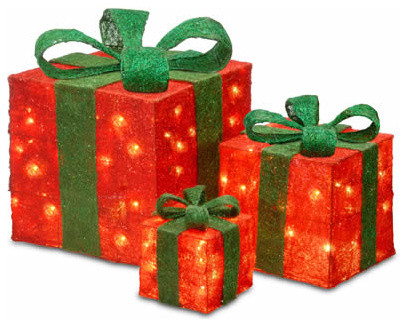 assorted red sisal christmas gift boxes with 20 20 and 35 clear lights - Christmas Gift Decorations