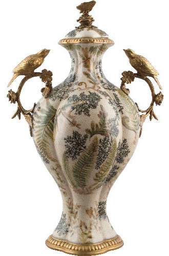 porcelain jar with bronze birds and butterfly traditional decorative jars and urns - Decorative Urns