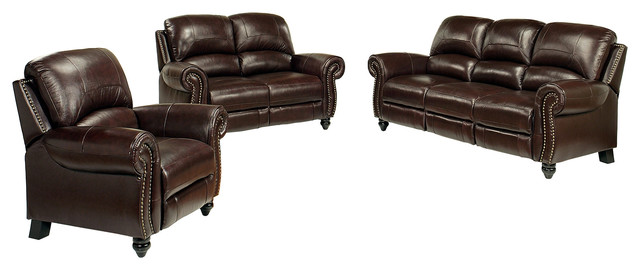 Abbyson Living Cambridge 3-Piece Pushback Reclining Leather Sofa Set,  Burgundy