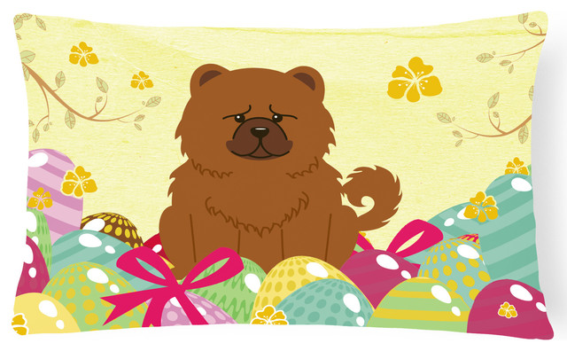 Easter Eggs Chow Chow Red Canvas Fabric Decorative Pillow