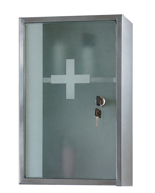 """9""""W X 15""""H Lockable Series Surface Mounted Satin Stainless Steel Cabinet"""