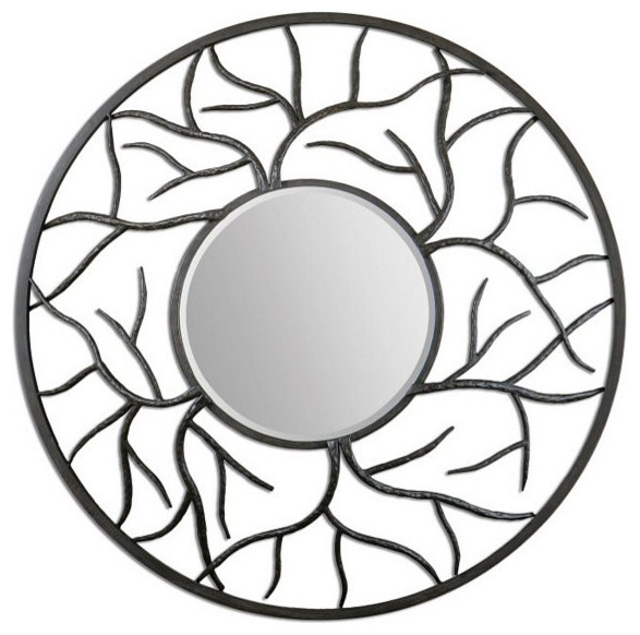 23395ac47ce Uttermost Esher 07665 Round Metal Mirror - Transitional - Wall Mirrors - by  Florida Living and Lighting
