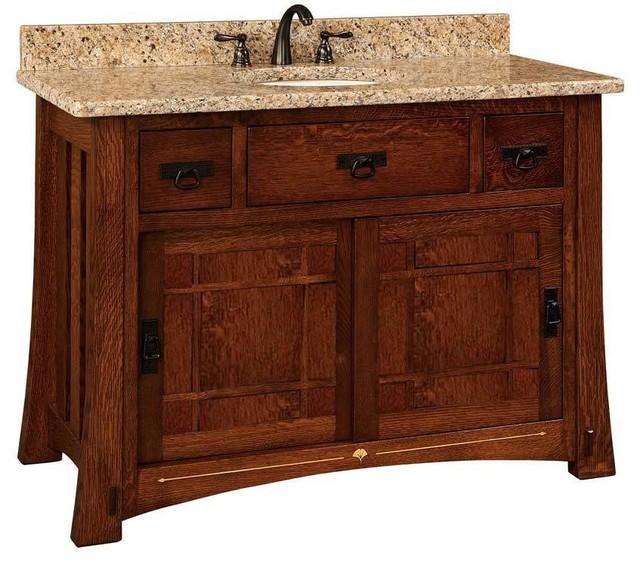 Morgan Bathroom Vanity, Quarter Sawn White Oak, Michaels Cherry, Wood Door.