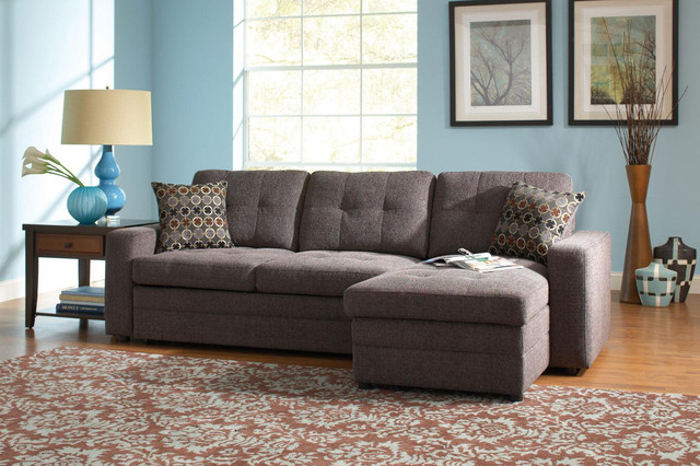 Coaster Small Chenille Storage Sectional Sofa Left Chaise Sleeper contemporary-sectional-sofas : sectional sofa sleeper with storage - Sectionals, Sofas & Couches