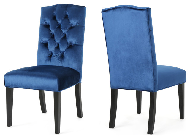 Joyce Traditional Crown Top New Velvet Dining Chairs, Set Of 2, Navy Blue.