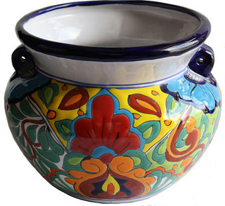 Big Rainbow Ceramic Mexican Pot Southwestern Outdoor
